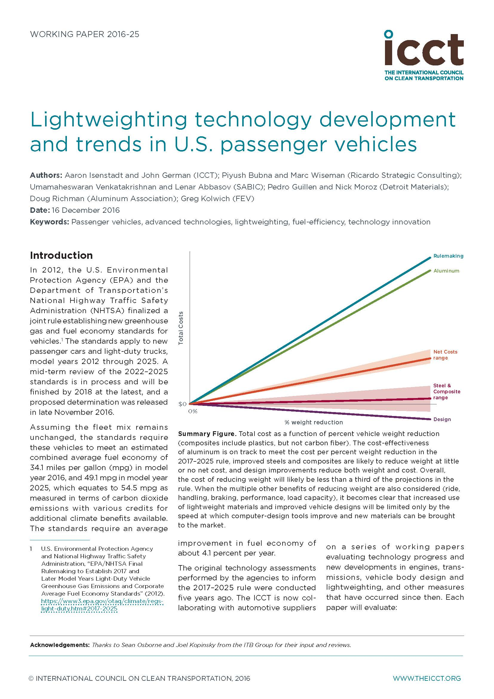 Lightweighting technology development and trends in U.S. passenger vehicles