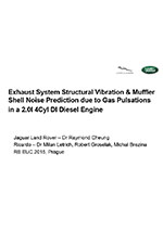 Exhaust muffler shell noise and structural exhaust system vibration prediction