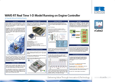 WAVE-RT real time 1-D model running on engine controller